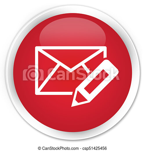 Edit email icon premium red round button - csp51425456
