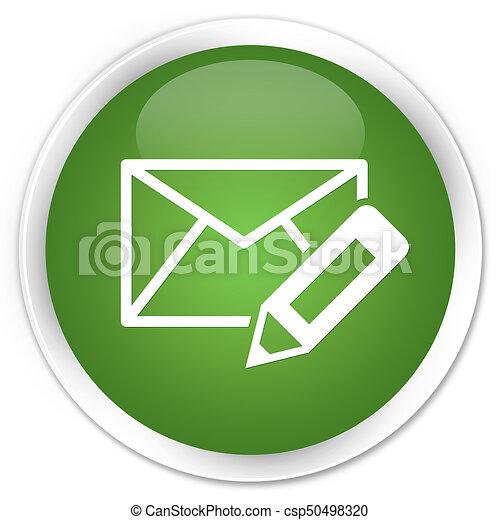 Edit email icon premium soft green round button - csp50498320