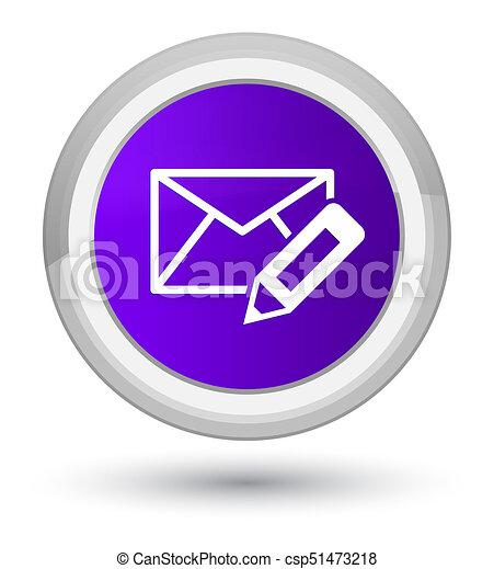 Edit email icon prime purple round button - csp51473218