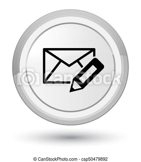 Edit email icon prime white round button - csp50479892