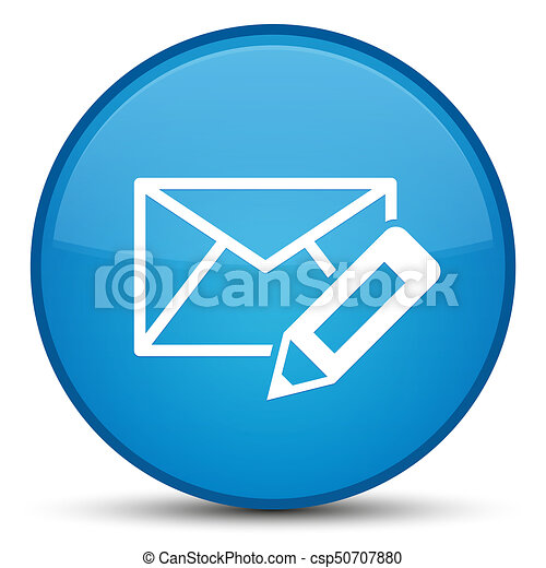 Edit email icon special cyan blue round button - csp50707880