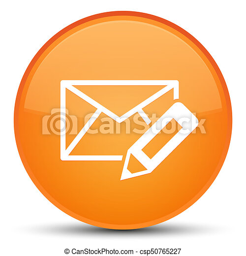 Edit email icon special orange round button - csp50765227