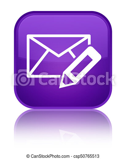 Edit email icon special purple square button - csp50765513