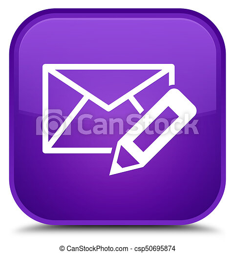 Edit email icon special purple square button - csp50695874