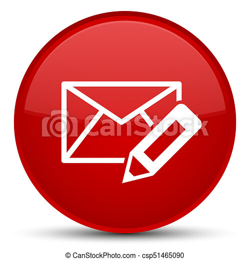 Edit email icon special red round button - csp51465090
