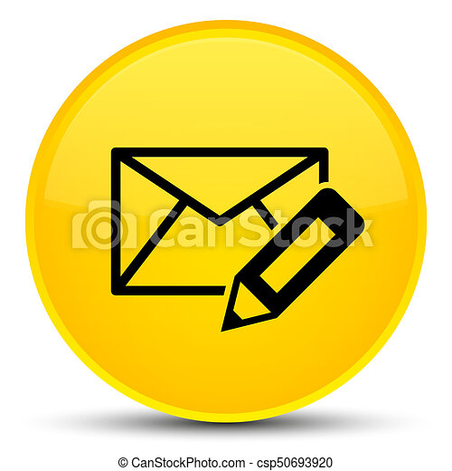 Edit email icon special yellow round button - csp50693920