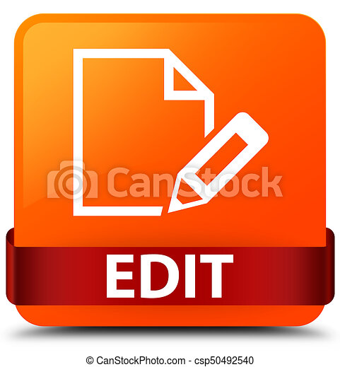 Edit orange square button red ribbon in middle - csp50492540