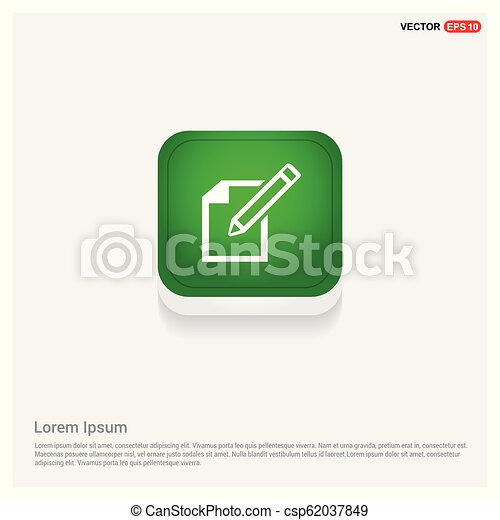 Edit, pencil icon Green Web Button - csp62037849
