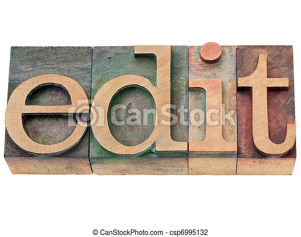 edit - word in letterpress type - csp6995132