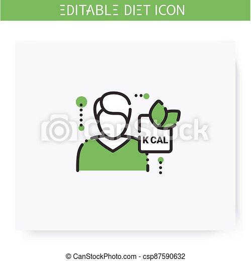 Editable, Icon., イラスト, 線, 栄養学者