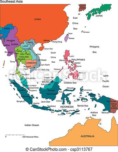 Südostasien mit bearbeitbaren Ländern, Namen - csp3113767