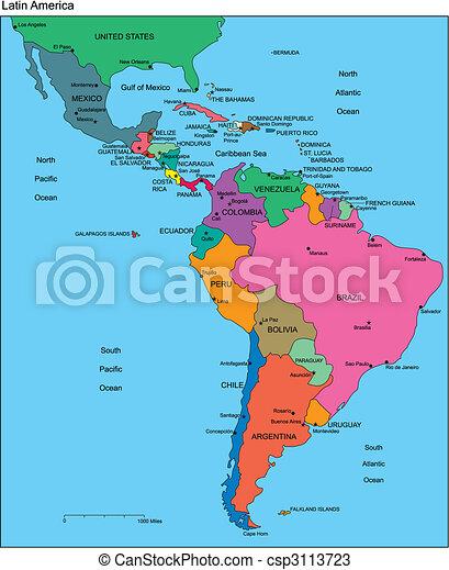 América Latina con países editables, nombres - csp3113723