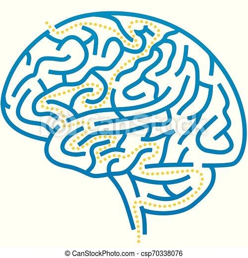 Laberinto cerebral con solución. Editable y simple. - csp70338076