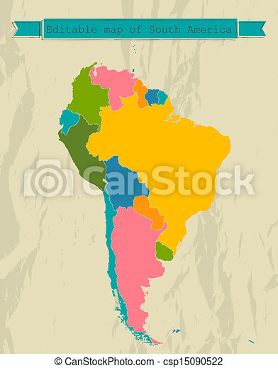 Editable South America  map with all countries. - csp15090522