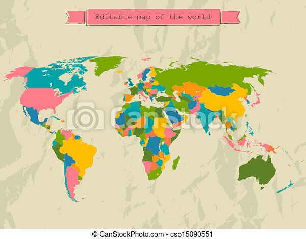 Editable world map with all Countries. - csp15090551
