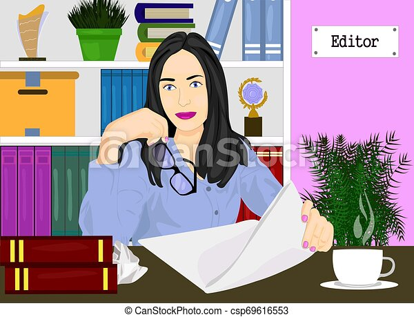 Editor woman in her office with bookshelf vector icon. Concept of editor profesion illustration. Girl holding the glasses and paper realistic style design, designed for web and app. Eps 10. - csp69616553