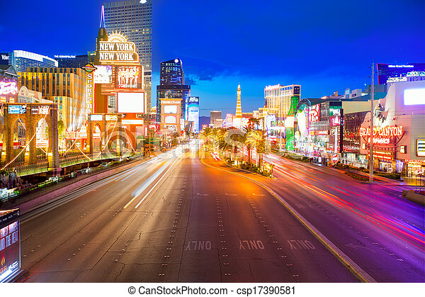 Editorial use only Las Vegas Nevada Strip at night - csp17390581