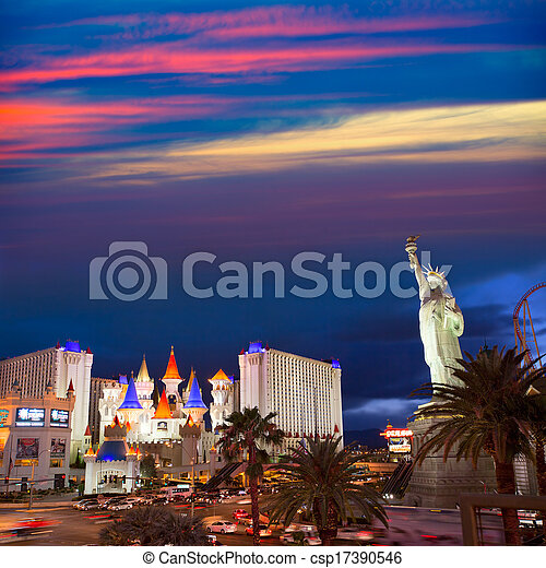 Editorial use only Las Vegas Nevada Strip at night - csp17390546