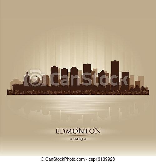 Edmonton Alberta skyline city silhouette - csp13139928