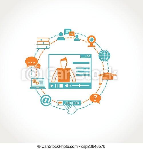 Íconos de educación en línea - csp23646578