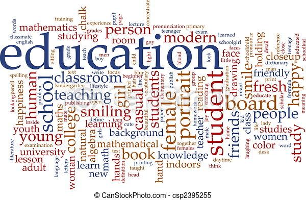 educación, palabra, nube - csp2395255