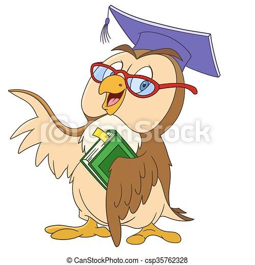 educated cartoon owl - csp35762328