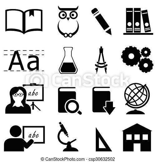 education, école, apprentissage, icônes - csp30632502
