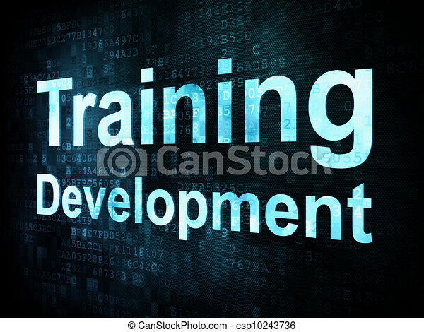Education and learn concept: pixelated words Training Development on digital screen, 3d render - csp10243736