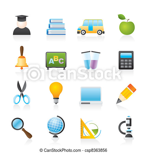 education and school icons - csp8363856