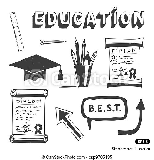 Education and school icons set - csp9705135