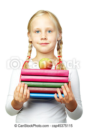 Education - Back to School! Cute child with books - csp45375115