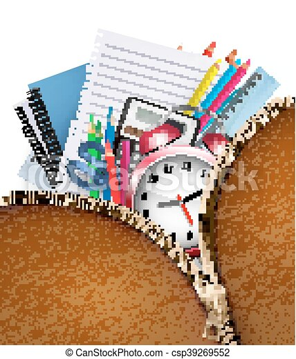 Education background with school supplies and open zipper Vector - csp39269552