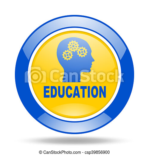 education blue and yellow web glossy round icon - csp39856900