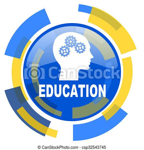 education blue yellow glossy web icon - csp32543745