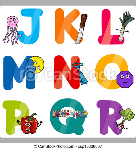 Education Cartoon Alphabet Letters for Kids - csp15338867