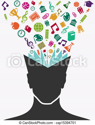 Education colorful icons human head book. - csp15394701