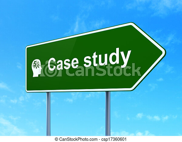 Education concept: Case Study and Head With Finance Symbol on road sign background - csp17360601