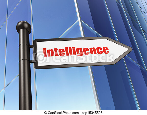 Education concept: Intelligence on Building background - csp15345526