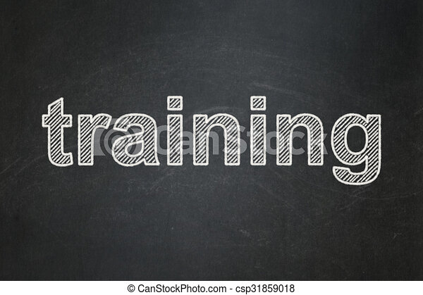 Education concept: Training on chalkboard background - csp31859018
