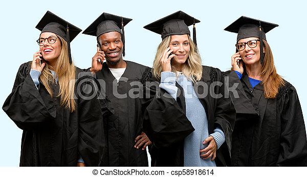 Education concept, university graduate woman and man group happy talking using a smartphone mobile phone - csp58918614