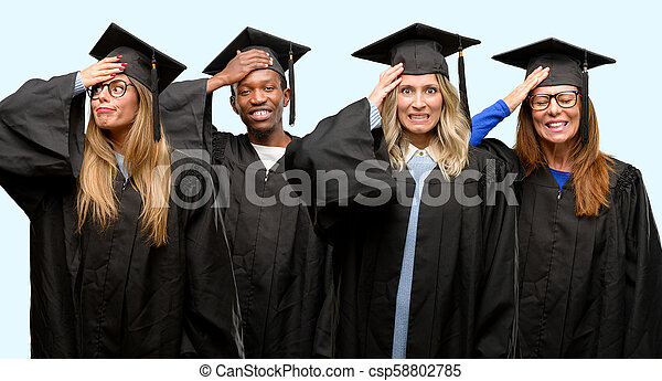 Education concept, university graduate woman and man group terrified and nervous expressing anxiety and panic gesture, overwhelmed - csp58802785