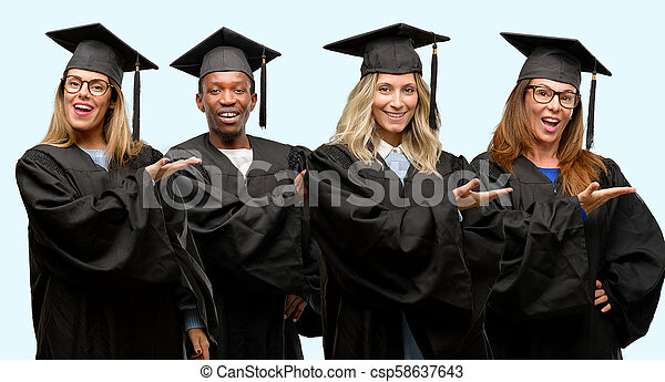 Education concept, university graduate woman and man group holding something in empty hand - csp58637643