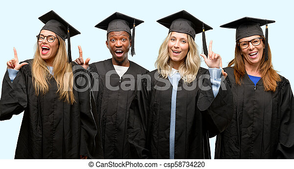 Education concept, university graduate woman and man group pointing away side with finger - csp58734220