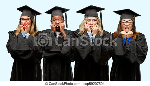 Education concept, university graduate woman and man group terrified and nervous expressing anxiety and panic gesture, overwhelmed - csp59207504