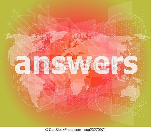 Education concept: words answers on digital background - csp23270971