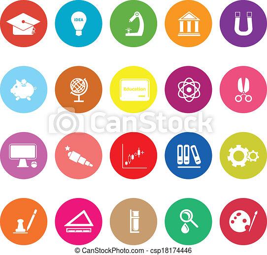Education flat icons on white background - csp18174446