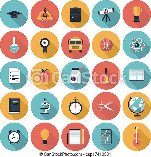 Education flat icons set - csp17410331
