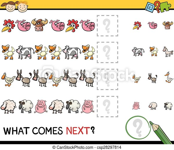 education game with farm animals - csp28297814