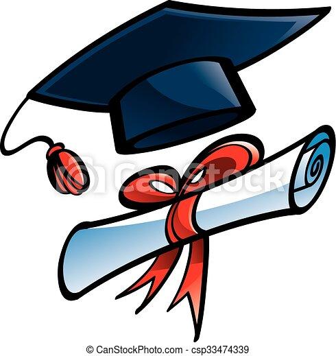 education graduation cap diploma vectors search clip art rh canstockphoto com  cap and gown diploma clipart