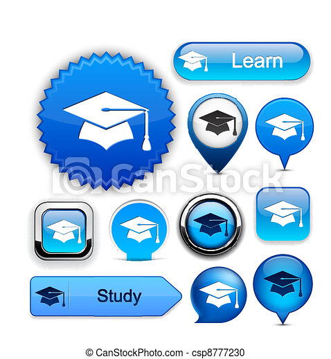 Education high-detailed modern buttons. - csp8777230